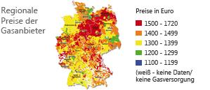 Regionale Preise der Gasanbieter